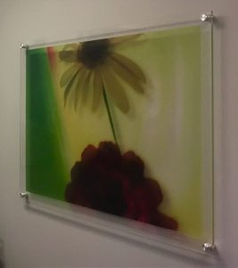 Direct printed acrylic print with modern stand-offs