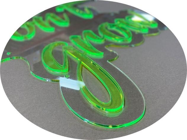 Laser cut flourescent acrylic
